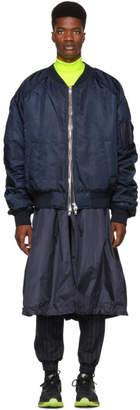 Juun.J Navy Embroidered Long Bomber Jacket