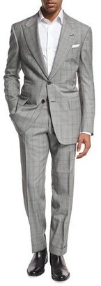 TOM FORD Windsor Base Plaid Two-Piece Suit, Black/White $4,890 thestylecure.com