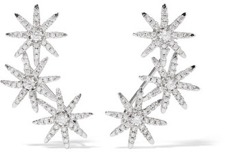 Kenneth Jay Lane - Starburst Silver-plated Cubic Zirconia Earrings - one size $205 thestylecure.com