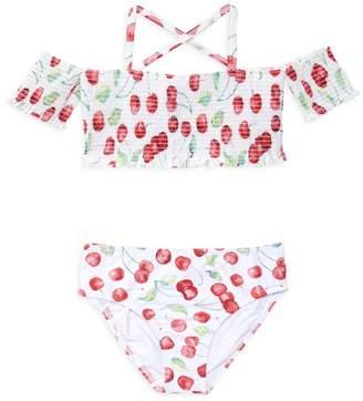 f97967fb93c8e Pilyq Little Girl's & Girl's Two-Piece Smocked High-Waist Bikini