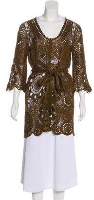 Oscar de la Renta Open Knit Silk Cardigan