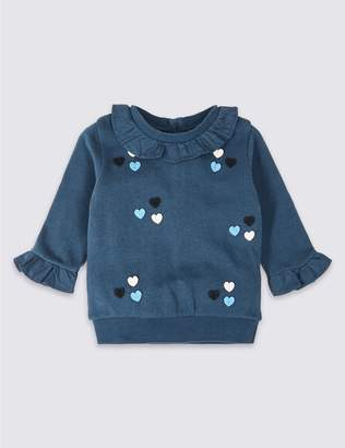 Marks and Spencer Pure Cotton Frill Sweatshirt