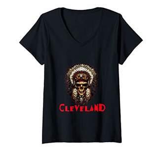 Womens Cleveland Hometown Indian Tribe vintage cool Baseball Fans V-Neck T-Shirt