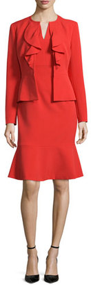 Albert Nipon Long-Sleeve Ruffle-Front Dress Suit, Paprika $395 thestylecure.com