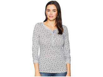 U.S. Polo Assn. Long Button Trimmed Sleeve Floral Print Tee Shirt Women's T Shirt
