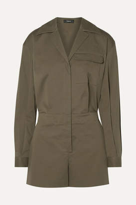 Theory Cotton-blend Poplin Playsuit - Army green