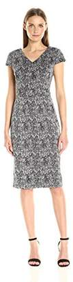 Betsey Johnson Women's Printed Cap Sleeve Sheath Dress, Black/Silver 2
