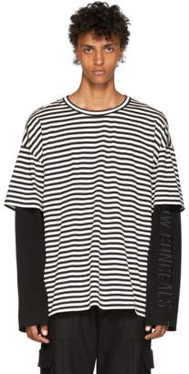Juun.J Black and White Striped Layered Sleeve T-Shirt