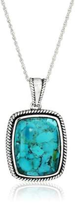 Sterling Silver Synthetic Compressed Rope Rectangle Pendant Necklace