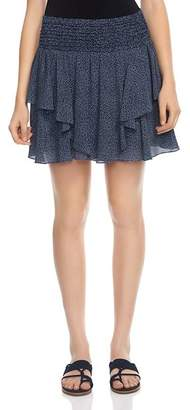 Halston Printed Silk Mini Skirt