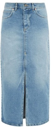 Raey Slit Front Denim Maxi Pencil Skirt - Womens - Denim