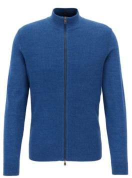 HUGO BOSS Waffle-Knit Cotton Full-Zip Sweater Devino M Blue