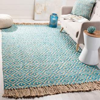 Bungalow Rose Miami Springs Natural Fiber Hand Tufted Turquoise Area Rug