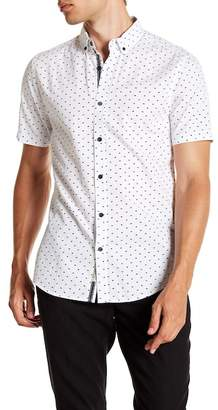 Report Collection Fish Print Short Sleeve Slim Fit Shirt