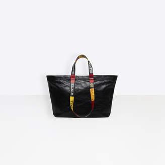 Balenciaga Medium lambskin shopper bag with contrasted logo printed on handles