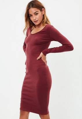 Missguided Burgundy Long Sleeved Midi Dress