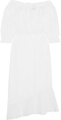 Saloni - Grace Off-the-shoulder Broderie Anglaise Cotton Midi Dress - White $650 thestylecure.com