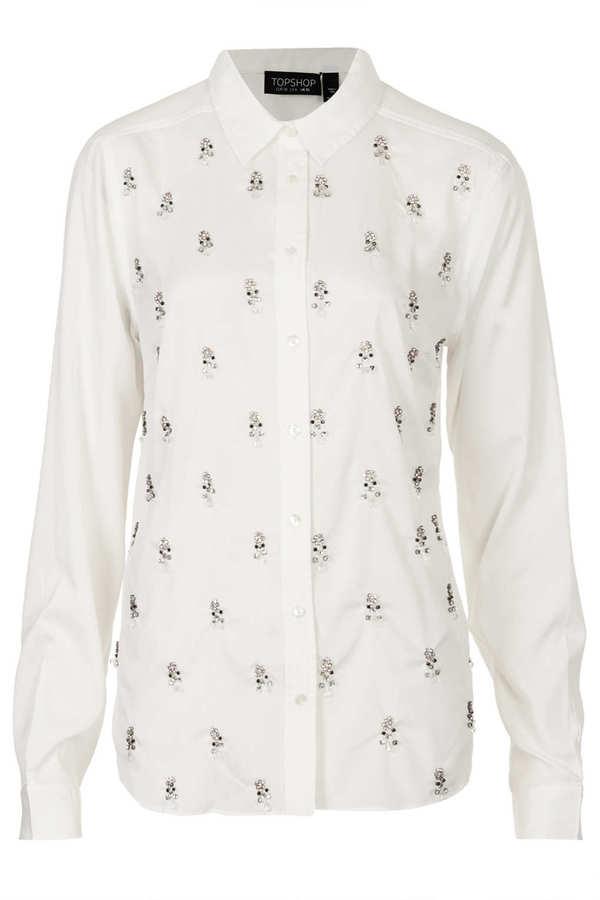 Topshop Jewelled Embellished Shirt