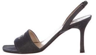 Chanel Denim CC Slingback Sandals