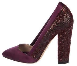 Giambattista Valli Glitter Satin-Trimmed Pumps