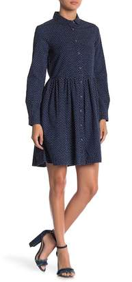 French Connection Indigo Cross Long Sleeve Button Down Dress