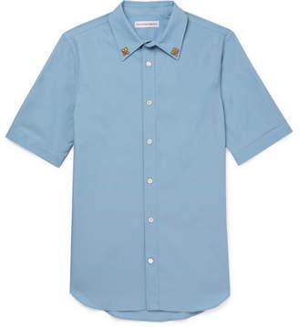 Alexander McQueen Embellished Cotton-Poplin Shirt - Men - Light blue