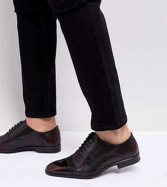 Asos DESIGN Wide Fit Oxford Shoes In Burgundy Leather With Laser Detail