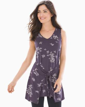 Soft Jersey Knot Front Sleeveless Tunic Trailing Floral Purple