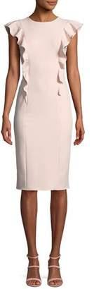 Shoshanna Cady Sleeveless Dress in Ruffled Crepe