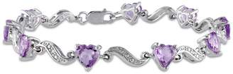 Concerto Amethyst Sterling Silver and 0.02 CT. T.W. Diamond Heart Bracelet