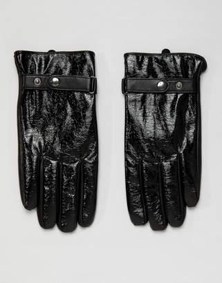 Asos Design DESIGN leather touchscreen gloves in black vinyl finish