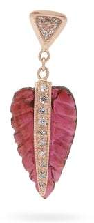 Jacquie Aiche Leaf Rose Gold, Tourmaline & Diamond Earring - Womens - Pink