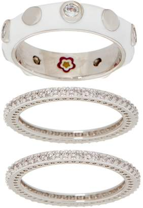 Ralph Lauren G. Adams G Adams Enamel Stud Motif Set of 3 Stack Rings