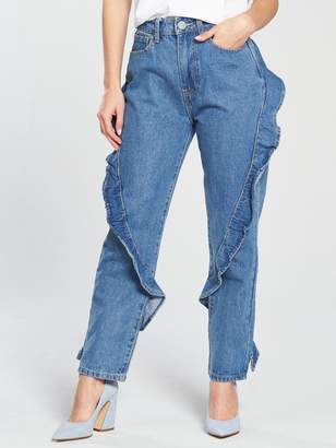 Lost Ink Petite Slim Mom Jean With Diagonal Frill