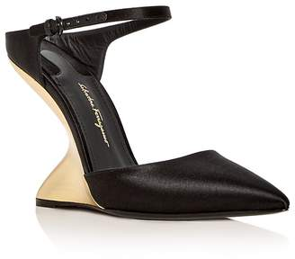 Salvatore Ferragamo Women's Naturno Satin F-Wedge Pumps