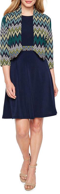 R & K Originals Sleeveless Belted Jacket Dress-Petite
