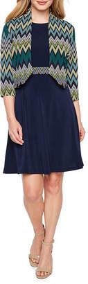R & K Originals 3/4 Sleeve Belted Jacket Dress-Petite