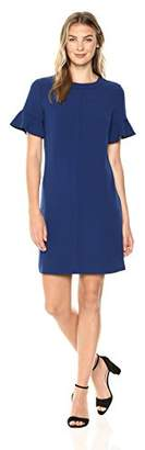 Lark & Ro Women's Short Sleeve Ruffle Trim T-Shirt Dress