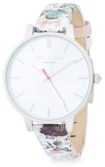 Ted Baker Printed Stainless Steel & Leather-Strap Watch