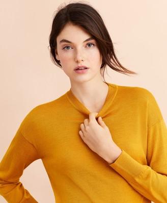 Brooks Brothers Merino Wool Pointelle-Detail Crewneck Sweater