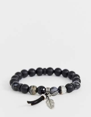 Asos Design DESIGN beaded bracelet with semi precious stones and feather