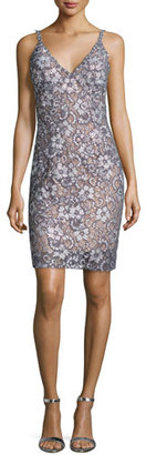 Jovani Sleeveless Floral Lace Cocktail Dress, Silver/Nude $560 thestylecure.com