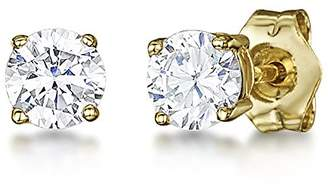 Theia 9ct Yellow Gold Round Claw Set White Cubic Zirconia Stud Earrings