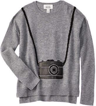 Autumn Cashmere Kids Leather-Trim Wool & Cashmere-Blend Sweater