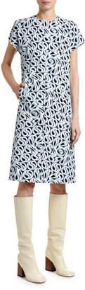Marni Turbulent Printed Short-Sleeve Dress