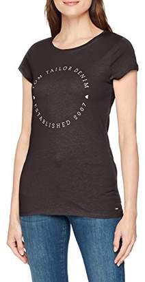 81e8bf62a94 Tom Tailor Women s T-Shirt Mit Druck Und Slogan Shale Grey Melange 2620