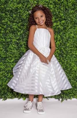 Zazie LA PETITE HAYLEY PAIGE Stripe Organza Flower Girl Dress