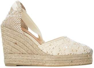 Castaner Carina Natural Jute And Lace Wedge Sandal