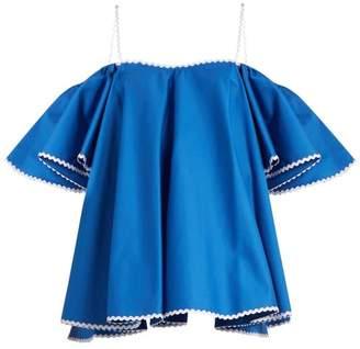 Anna October - Off The Shoulder Cotton Poplin Top - Womens - Blue