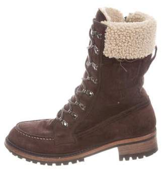 Chanel Suede Shearling-Trimmed Boots Brown Suede Shearling-Trimmed Boots
